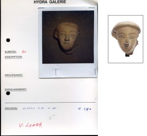 Foto from the Medici Archive (left) and the same Etruscan terracotta head from the auction catalogue from Bonhams, London (lot 14)